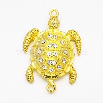 Alloy Rhinestones Magnetic Clasps, Sea Turtle, Golden, 37x25x8mm, Hole: 2mm(X-ALRI-O015-02)