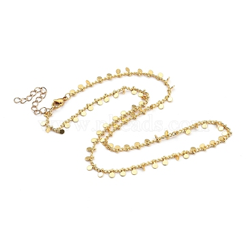 Brass Curb Chain Necklaces, with Brass Flat Round Charms and 304 Stainless Steel Lobster Claw Clasps, Golden, 17.91 inches(45.5cm)(NJEW-JN03032-02)