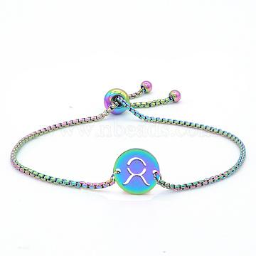 """Bracelets réglables en 201 acier inoxydable, bracelets bolo, avec des chaînes de boîte, plat rond avec constellation / signe du zodiaque, taurus, 9-1/2"""" (24 cm)(STAS-S105-JN664-2)"""
