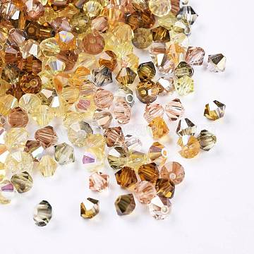 Czech Glass Beads, Faceted, Bicone, Goldenrod, 4x3.5~4mm, Hole: 1mm, about 720pcs/bag(GLAA-I045-01B-01)