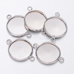 платина гальваническим настройки разъем ободок ссылка латунные для эпизодических кабошонах, чашки безель с краем, плоские круглые, свинца и кадмия и никеля, лоток: 14 мм; 21.5x16x2.5 мм, отверстия: 1.5 mm(X-KK-B537-N)