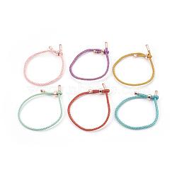 bracelets réglables en nylon, bracelets bolo, bracelets de slider, chaînes de boîte, avec les résultats en laiton, plaqué longue durée, véritable plaqué or, couleur mélangée, 9-1 / 4 (23.5 cm); 2~3.5 mm(BJEW-F362-B-RG)