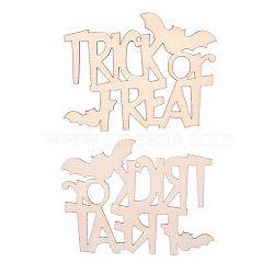 Trick or Treat Halloween Blank Wooden Cutouts Ornaments, for Halloween Hanging Decoration, Kids Crafts DIY Party Supplies, BurlyWood, 67x91x2mm, Hole: 2.5mm; Rope: 320x1mm(WOOD-L010-03)