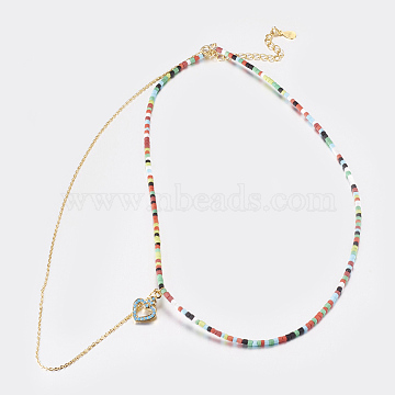 Natural Peach Moonstone Tiered Necklaces, Layered Necklaces, with Brass Findings, Heart, 14.5inches (37cm), 1mm(NJEW-K108-01-01)