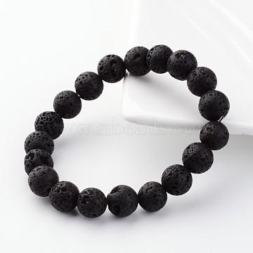 Natural Lava Rock Beads Stretch Bracelets, 55mm(X-BJEW-JB02411)