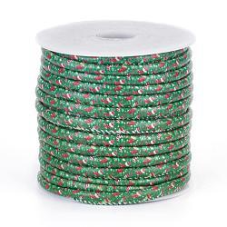 cordons en tissu imprimés, modèle de thème de Noël, stockage, vert, 7x5 mm; sur 20 m / rouleau(OCOR-G002-D04)