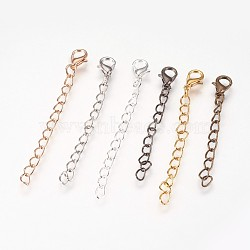 Iron Chain Extender, with Alloy Lobster Claw Clasps, Rack Plating, Mixed Color, 65x3.5mm(X-PALLOY-F206-02)