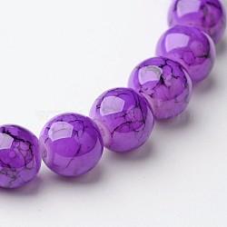 Perles en verre d'effilage, rond, Darkviolet, 8 mm; trou: 1.3~1.6 mm; environ 100 pcs / brin, 31.4
