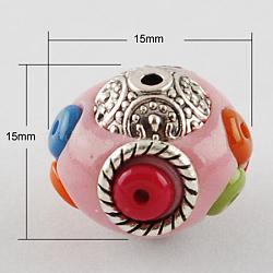 Perles Indonésiennes manuelles, avec des noyaux en alliage, rond, argent antique, rose, 15x15x15mm, Trou: 2mm(X-IPDL-Q016-3)