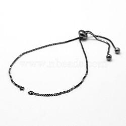 "Fabrication de bracelet en chaîne à laiton, fabrication de bracelets coulissants, Sans cadmium & sans nickel & sans plomb, gunmetal, 5"" (123 mm); 1mm, Trou: 1.5mm(X-KK-G284-01B-NR)"
