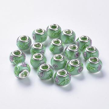 Handmade Lampwork European Beads, Large Hole Beads, with Platinum Color Brass Double Cores, Inner Flower Lampwork, Rondelle, Medium Aquamarine, 14x11mm, Hole: 5mm(LAMP-S193-009C)
