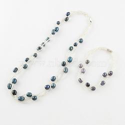 """Ensembles de bijoux de perles: bracelets et colliers, Avec perles de graines et fermoirs magnétiques en laiton et fermoirs de griffes de homard, platine, darkslategray, 200mm, 18.1""""(SJEW-R043-06)"""