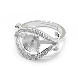 Composants de bague réglables en 925 argent sterling, pour la moitié de perles percées, avec zircons, oeil, clair, platine, taille 7, 17 mm; broches: 0.9 mm(STER-L055-031P)