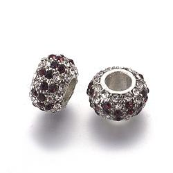 Perles en alliage, Perles avec un grand trou   , avec verre strass, pas de noyau métallique, sans plomb et sans cadmium, rondelle, platine, blanc / indigo, environ 14.5 mm de diamètre, épaisseur de 9mm, Trou: 6mm(X-BSAPH007-24)