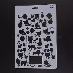 Modèles de pochoirs de peinture de dessin en plastique, rectangle, motif animal, blanc, 25.5x17.4x0.04 cm(DIY-F018-B22)