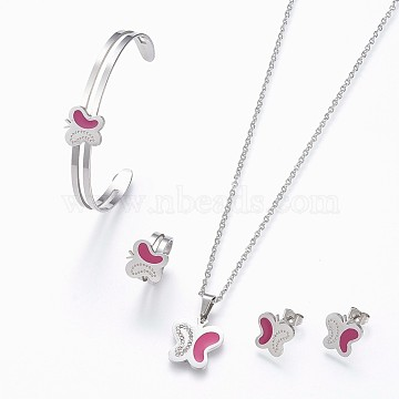 304 Stainless Steel Enamel Jewelry Sets, Pendant Necklaces and Cuff Bangles, Cuff Rings, Open Rings Stud Earrings, Butterfly, Stainless Steel Color, 17.7 inches(45cm), 1-5/8 inches(4.3cm)x2-1/8 inches(5.4cm), 14mm, 12x12x1.2mm, Pin: 0.8mm(SJEW-F175-02P)