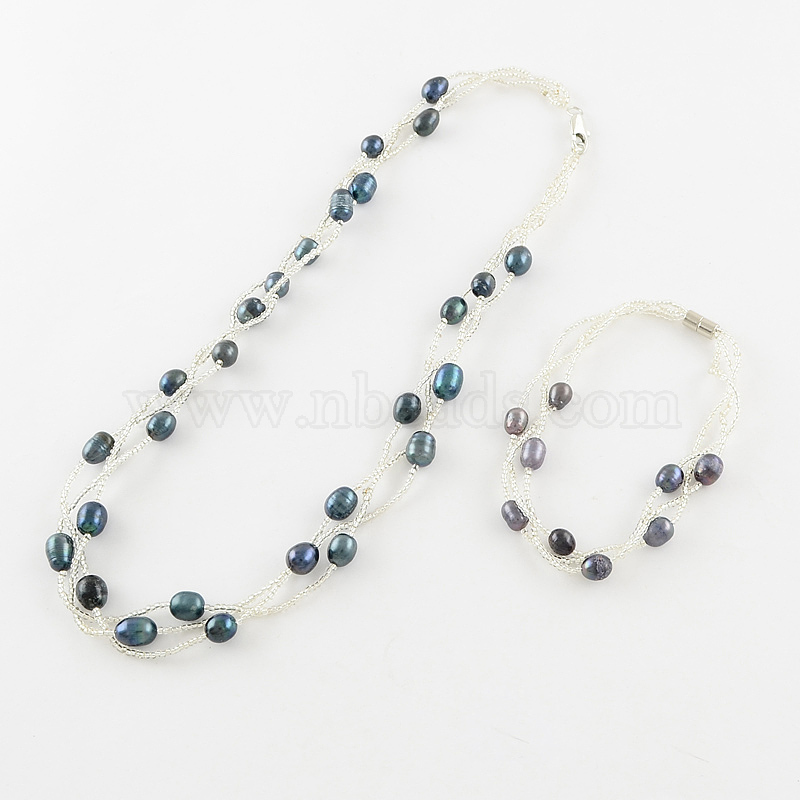 magnetic clasps Pearl necklace and bracelet set
