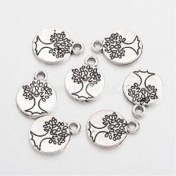 Tibetan Style Alloy Flat Round with Tree Charms, Cadmium Free & Lead Free, Antique Silver, 14.8x11.5x1.5mm, Hole: 2mm