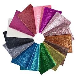 un tissu en cuir pu 4 pailleté, paillettes brillantes, pour bricolage, couleur mélangée, 30.5x21.2x0.08~0.1 cm; 15 couleur, 1 feuille / couleur, 15 feuilles / ensemble(AJEW-BC0005-46)