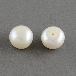 Grade AAA Natural Cultured Freshwater Pearl Beads, Half Drilled, Flat Round, White, 6~6.5x5mm, Half Hole: 1mm(Y-PEAR-R008-6~6.5mm-01)