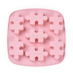 Food Grade Silicone Molds, Fondant Molds, For DIY Cake Decoration, Chocolate, Candy, Soap, UV Resin & Epoxy Resin Jewelry Making, Puzzle, Pink, 176x180x19.5mm; Puzzle: 66x40mm