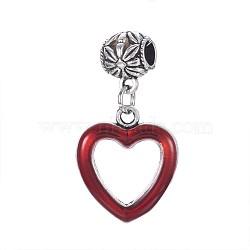 Perles européennes de pendentif d'émail en alliage de style tibétain, cœur, Pendentifs grand trou, argent antique, DarkRed, 38mm, Trou: 5mm(PALLOY-P143-19AS-02)