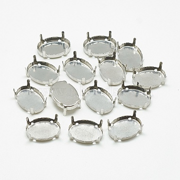 201 Stainless Steel Rhinestone Claw Settings, Oval, Stainless Steel Color, Tray: 28x19mm; 30x20x9mm, Hole: 1.5mm(STAS-T032-03-20x30mm)