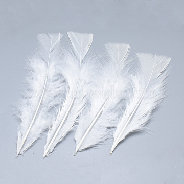 Turkey Feather Costume Accessories, Dyed, White, 135~160x30~55x1.5~2mm(X-FIND-T013-02N)