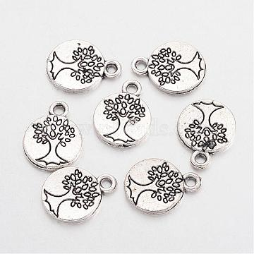 Antique Silver Flat Round Alloy Charms