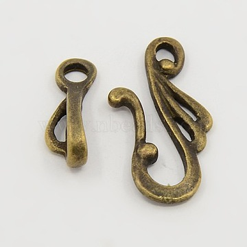 Tibetan Style Hook and Eye Clasps, Zinc Alloy Hook and Eye Clasps, Lead Free, Cadmium Free and Nickel Free, Antique Bronze, Toggle: 12mm wide, 25mm long, Bar: 16mm long, hole: 3mm(X-MLF1157Y-NF)