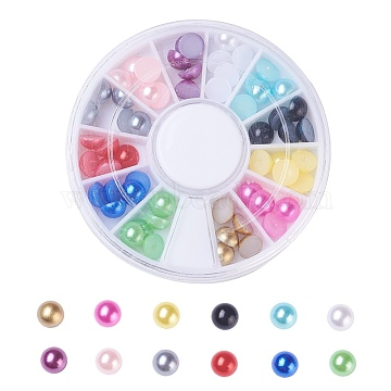 ABS Plastic Cabochons, Imitation Pearl, Nail Art Decoration Accessories, Half Round, Mixed Color, 6x3mm; about 5pcs/color, 60pcs/box(OACR-X0006-09-6mm-A)