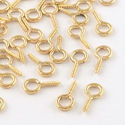 Vis de fer oeil épingle cheville bails, pour la moitié de perles percées, or clair, 13x6.5x1.5mm, trou: 4 mm; broches: 1.5 mm(IFIN-R211-02KC)