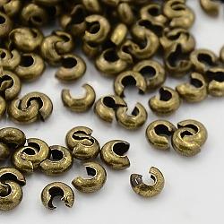 Couvertures de perles à sertir en fer, sans cadmium et sans plomb, couleur de bronze antique, taille: environ 3mm de diamètre, Trou: 1.2~1.5mm(X-IFIN-H028-AB)