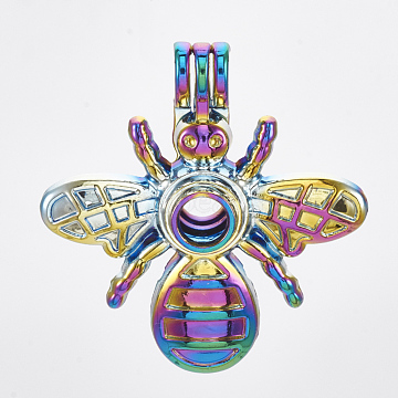 Plated Alloy Bead Cage Pendants, Bee, Colorful, 36x34x12mm, Hole: 4x4.5mm; Inner Measure: 8.5mm(PALLOY-S119-095)