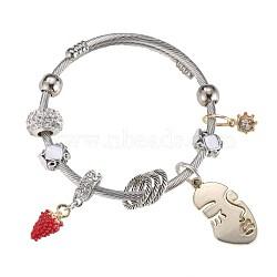 Bracelets européens, perles de verre, émail, strass, blanc, argenterie(BJEW-BB34158-B)