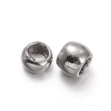 Rondelle Brass Crimp Beads, Gunmetal, 1.5mm, Hole: 0.5mm; about 10000pcs/50g(KK-L134-33B)