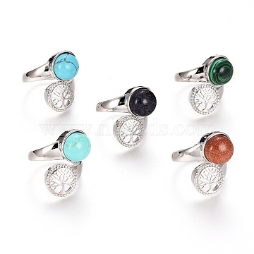 Mixed Gemstone Rings, with Brass Findings, Flat Round with Tree of Life, US Size 7 1/4(17.5mm)(RJEW-G098-02B-P)