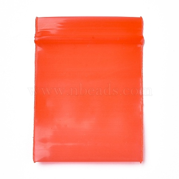 Solid Color PE Zip Lock Bags, Resealable Small Jewelry Storage Bags, Self Seal Bag, Top Seal, Rectangle, Red, 4x3cm; Unilateral Thickness: 0.02cm; about 90~100pcs/bag(OPP-M001-02A-01)