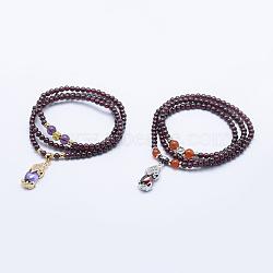 """Bracelets étirables à trois boucles avec grenat naturel, avec des perles de jade teint, Pendentifs avec zircon cubiques à micro-pavés en laiton, Pixiu, couleur mixte, 19.69"""" (50 cm)(BJEW-F293-26)"""
