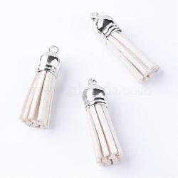 faux suède pendentif pompon décorations, avec extrémités de cordon en plastique ccb, platine, blanc crème, 35~37x10 mm, trou: 2.5~3 mm(FIND-T002-A16)