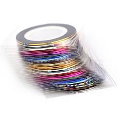 Ligne de ruban adhésif, nail art autocollant conseils décoration, rouleau d'autocollants nail art, couleur mixte, 0.7mm, 20m/rouleau, 10 rouleaux / set(MRMJ-G007-05)