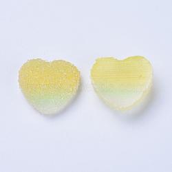 cabochons de résine, deux tons, cœur, champagneyellow, 15~15.5x16.5~17x7 mm(RESI-TAC0002-02F)