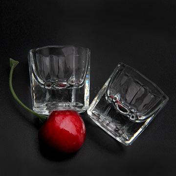 Octagonal Glass Cup, Nail Art Tools, Clear, 3.2x3.3cm(X-MRMJ-Q032-021)