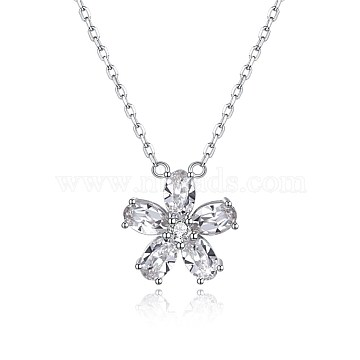 925 Sterling Silver Pendant Necklaces, with Austrian Crystal, Flower, Platinum, 001_Crystal, 15.7 inches(40cm)(EJEW-BB32283-A)