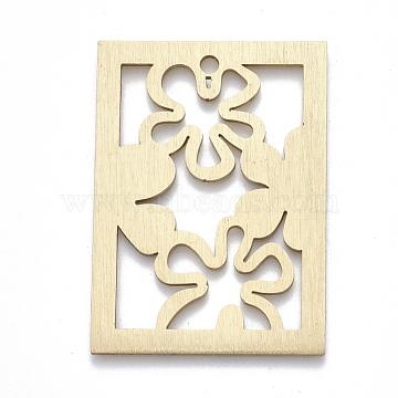 Aluminium Big Pendants, Laser Cut Big Pendants, Rectangle with Flower, Golden, 50x36x1mm, Hole: 3mm(X-ALUM-T001-46G)