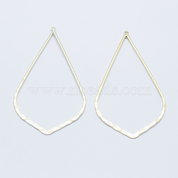 Long-Lasting Plated Brass Big Pendants, Real 18K Gold Plated, Nickel Free, Leaf, 69x40x1.5mm, Hole: 1mm(X-KK-K204-099G-NF)