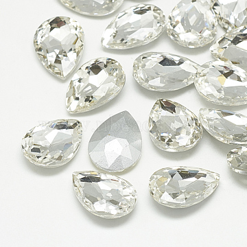 Pointed Back Glass Rhinestone Cabochons, Back Plated, Faceted, Teardrop, Crystal, 18x13x5mm(RGLA-T081-13x18mm-01)