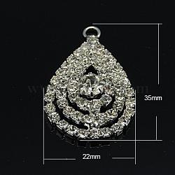 Pendentifs strass en laiton plaqué paltinum, grade A strass, goutte , cristal, 35x22x8mm, Trou: 2mm(X-RB-H306-01)