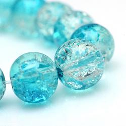 """Cuisson peints en verre craquelé brins de perles, rond, darkturquoise, 6mm, trou: 1.3~1.6mm; environ 133 pcs/chapelet, 31.4""""(X-CCG-S001-6mm-06)"""