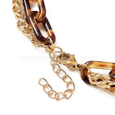 Transparent Acrylic & Aluminium Double Layer Necklaces(X-NJEW-JN02957)-3